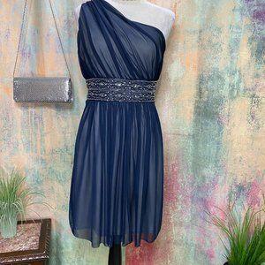 📌Jessica Howard One Shoulder Beaded Formal Dress